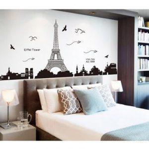 kamer met behang parijs