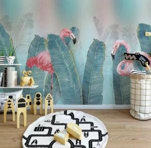 muren van de kinderkamer flamingo